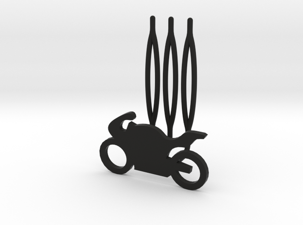 Motorbike decorative hair comb - small size  in Black Natural Versatile Plastic