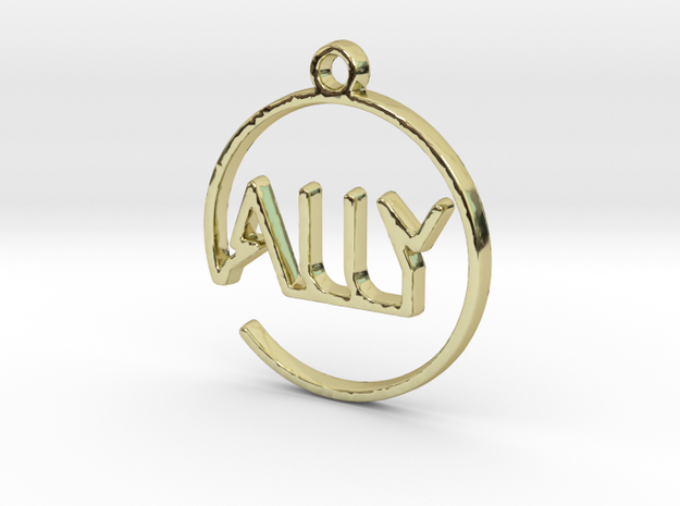 ALLY First Name Pendant in 18k Gold Plated Brass