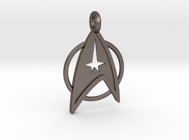Star Trek Keychain in Polished Bronzed Silver Steel