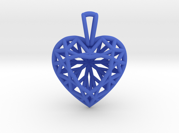3D Printed Diamond Heart Cut Pendant (Small) in Blue Processed Versatile Plastic