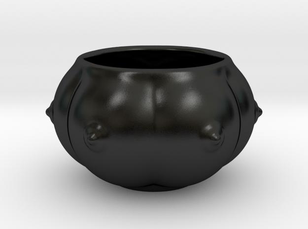 6-breasts shaped ceramic ashtray/desert bowl in Matte Black Porcelain