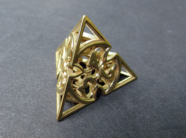 Gothic Rosette Die4 in Polished Brass