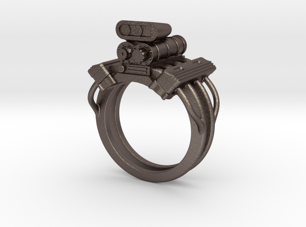 V8 Engine Ring in Polished Bronzed Silver Steel