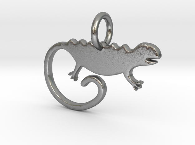 Chameleon Pendant and Keychain in Natural Silver