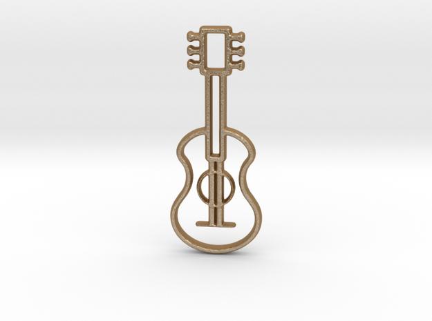 Guitar pendant in Matte Gold Steel