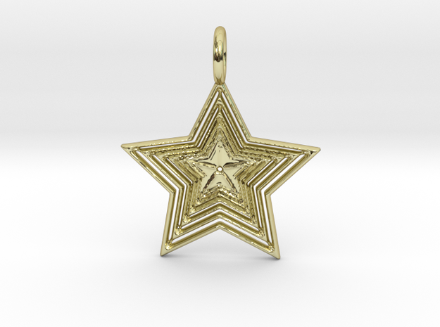 Star No.1 Pendant in 18k Gold Plated Brass