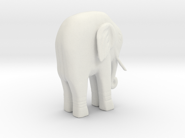 Elephant Statue in White Natural Versatile Plastic