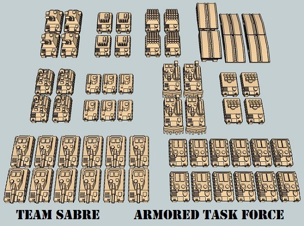 """Team Sabre"" 3mm Tracked Armor Task Force (56 Pcs) in White Strong & Flexible"