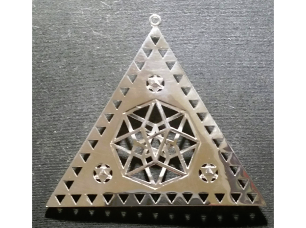 "Pleiadian Symbol Pendant 3"" in Polished Silver"