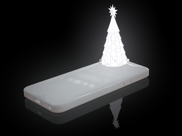 iPhone 5 Christmas Tree 3d printed virtual rendering of the christmas tree all lit up