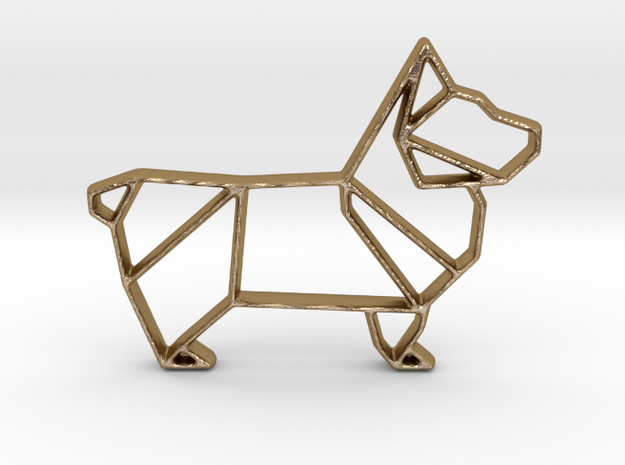 Origami Dog Pendant No.1  in Polished Gold Steel