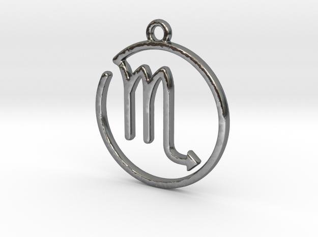Scorpio Zodiac Pendant in Polished Silver