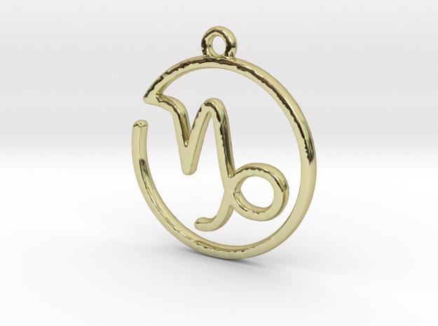 Capricorn Zodiac Pendant in 18k Gold Plated Brass