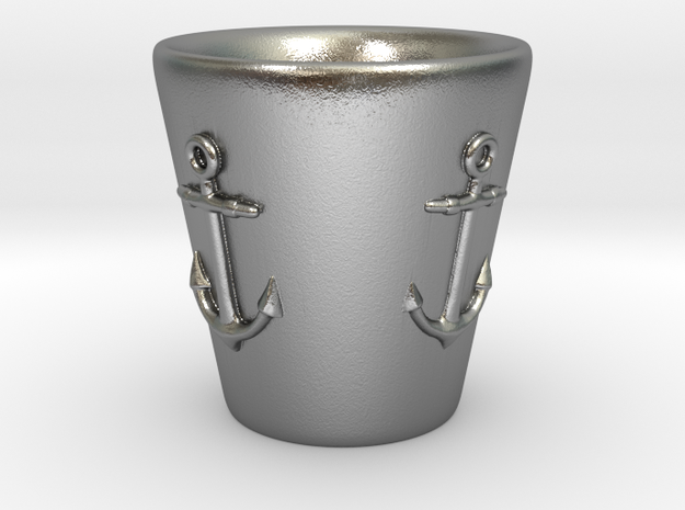 Nautical Anchor Shot Glass in Raw Silver