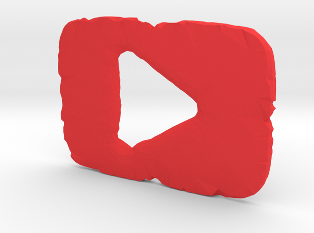 Shattered YouTube Play Button in Red Strong & Flexible Polished