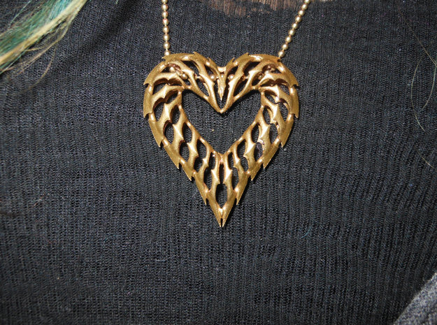 Rib Heart 1 in Raw Brass