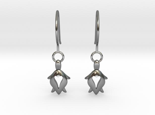 Holy Turtle Heart Earrings in Polished Silver