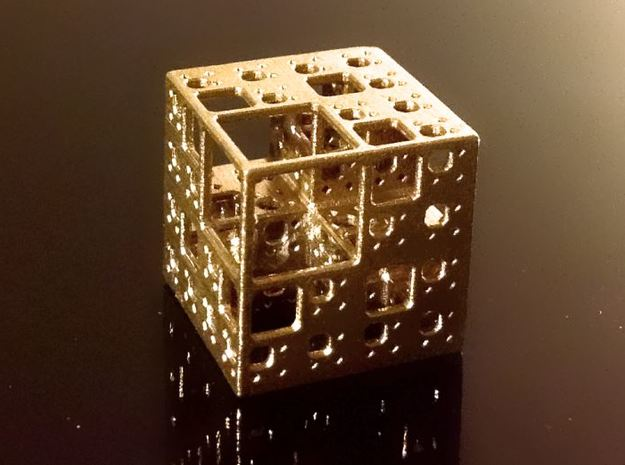 NewMenger - small fractal sculpture 3d printed Raw Brass