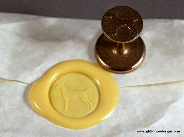 Vizsla (dog) Wax Seal in Polished Bronzed Silver Steel