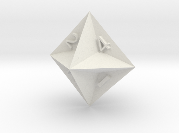 d4 Semiconvex Octohedron in White Natural Versatile Plastic