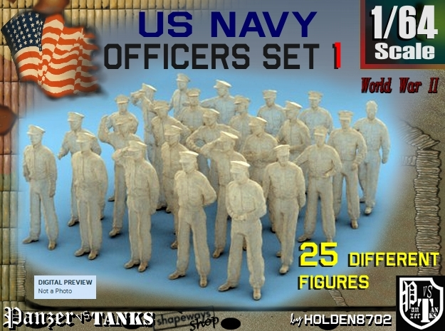 1-64 USN Officers Set1 in Smooth Fine Detail Plastic