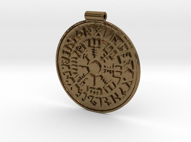 Vegvisir Nordic magical stave pendant in Raw Bronze