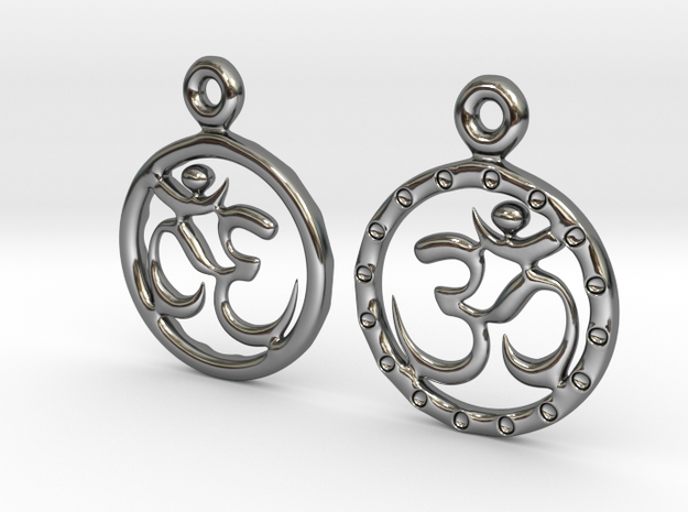 Om EarRings - Pair - Precious Metal in Fine Detail Polished Silver