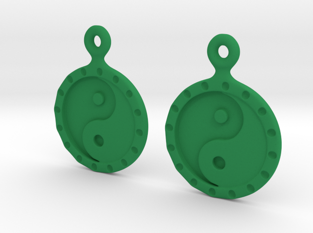 YinYang EarRings 1 - Pair - Plastic in Green Strong & Flexible Polished
