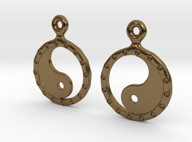 YinYang EarRings 2 - Pair - Metal in Polished Bronze