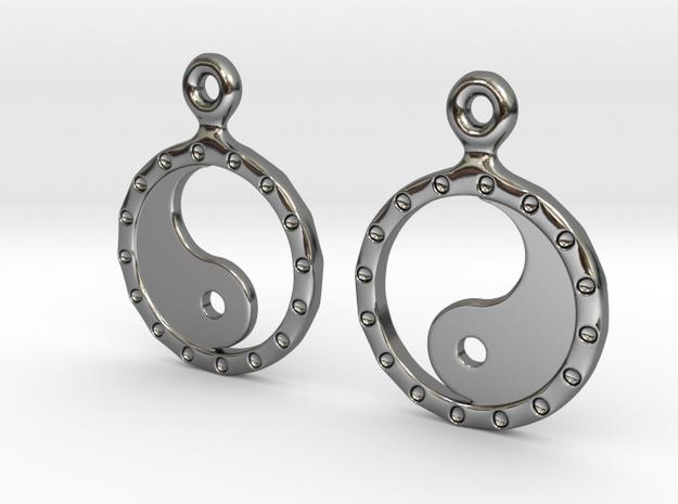 YinYang EarRings 2 - Pair - Precious Metal in Fine Detail Polished Silver