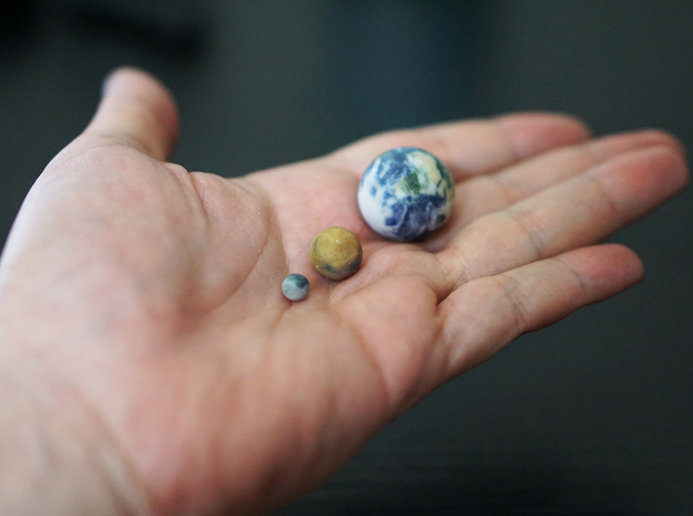 Tiny Earth, Mars & Moon to scale in Full Color Sandstone