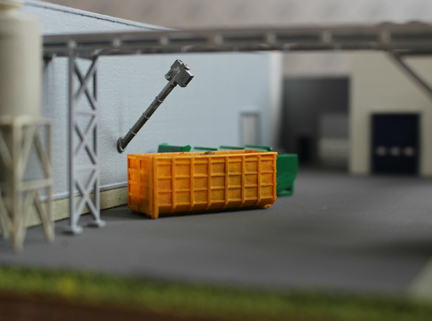 N Scale Screw Conveyor 5m45d +container in Smooth Fine Detail Plastic