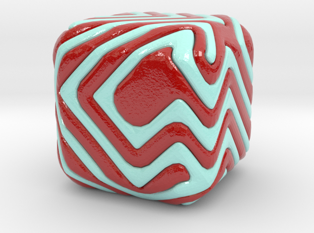 Cube patchwork spiral in Glossy Full Color Sandstone