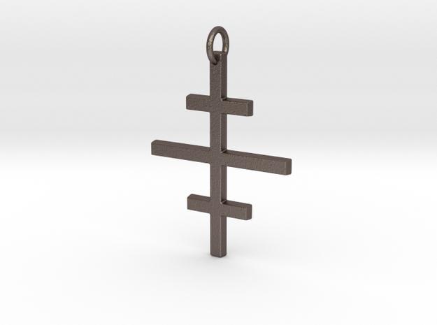 Salem Cross/Ever-Lasting Contrast in Polished Bronzed Silver Steel