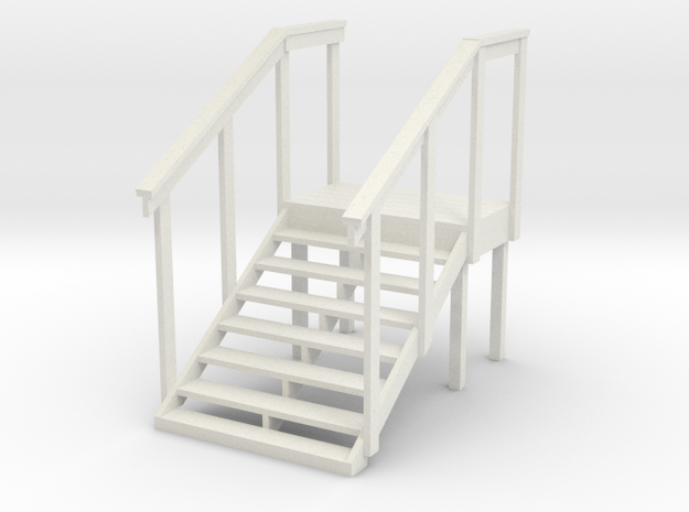 MOF Red Barn Stairs White -72:1 Scale in White Natural Versatile Plastic