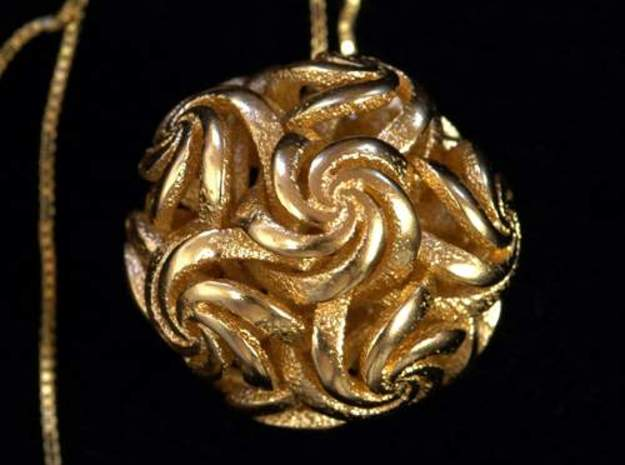 Rhombic triacontahedron IV, pendant in Polished Bronzed Silver Steel