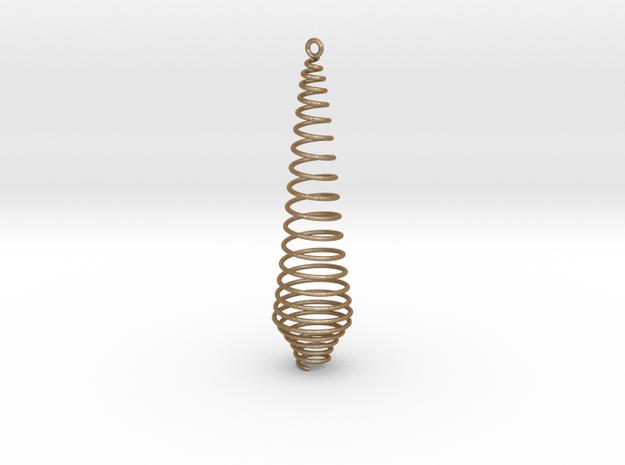 Christmas Tree Pendant in Matte Gold Steel