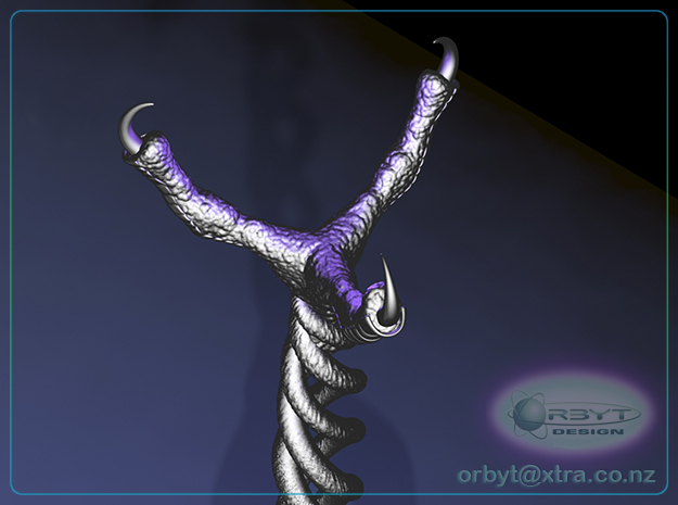 Gothic Candelabra ~ 300mm tall 3d printed Raytraced close up render simulating polished grey steel material
