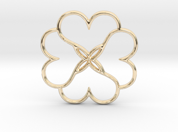 Four Leaves Of Clover in 14k Gold Plated Brass