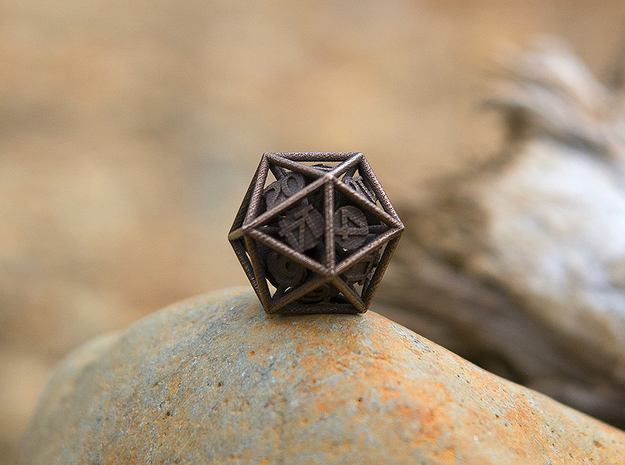 20-Sided Vector Die in Polished Bronzed Silver Steel
