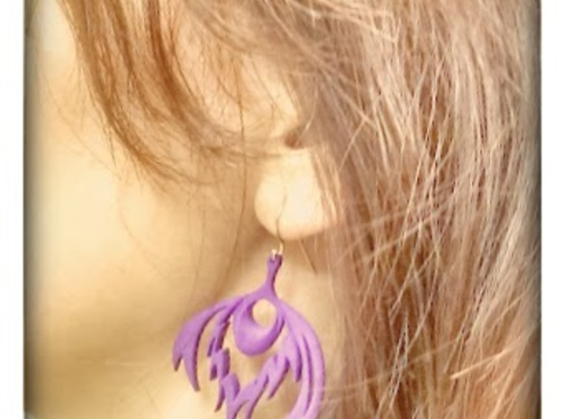 Peacock Feather Earrings 3d printed