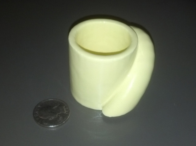 pythagoras cup 3d printed Another shot with a US quarter, for scale (about 25mm dia)