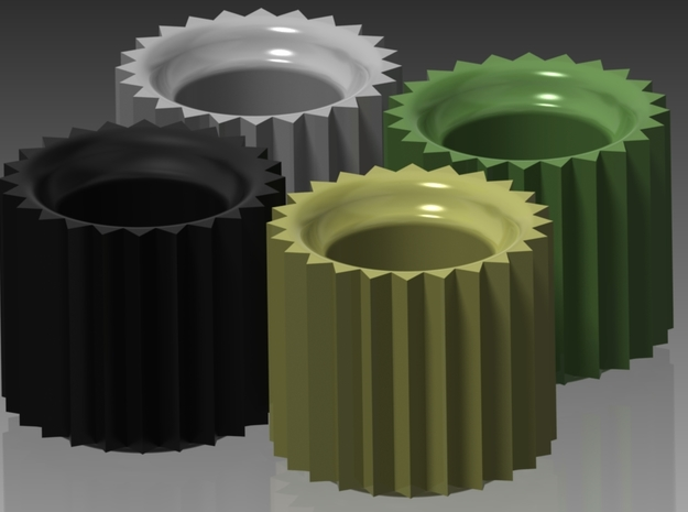 Gear Taper Candle Holders (Set of 4) 3d printed Rendering in Black Satin, White Glossy, Pastel Yellow Glossy, and Avocado Green Glossy Ceramics.