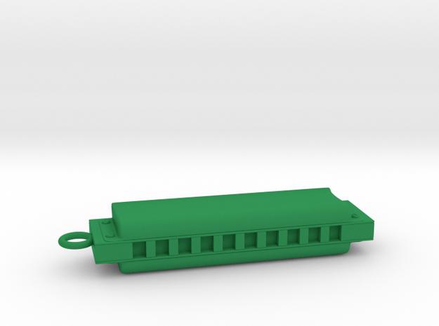 Harmonica Pendant - Plastic - Custom text in Green Processed Versatile Plastic