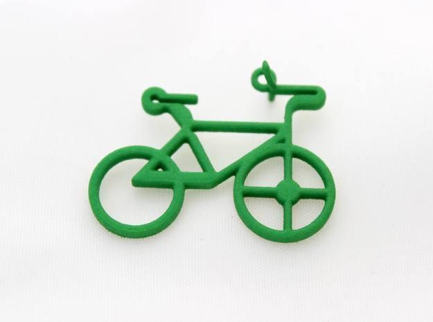 Bicycle Pendant in Green Processed Versatile Plastic