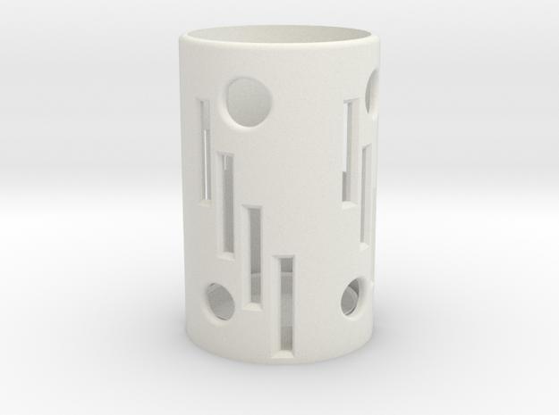 60 mm Candle Holder. in White Natural Versatile Plastic: Medium