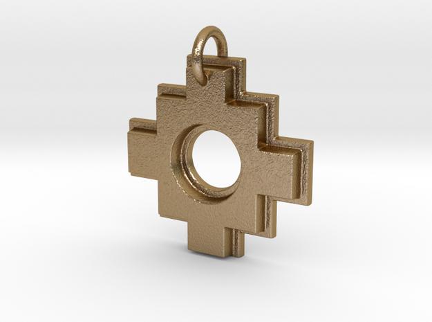 Chakana in Polished Gold Steel