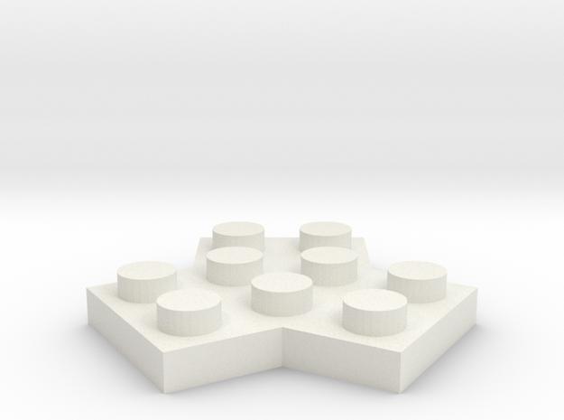 Trilego-flat-2x2 in White Natural Versatile Plastic