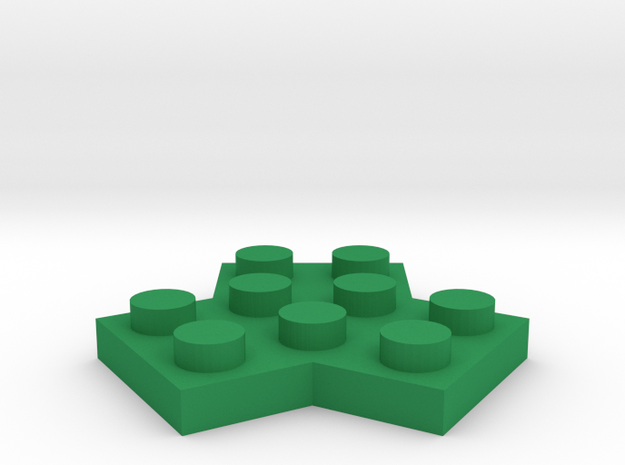 Trilego-flat-2x2 in Green Strong & Flexible Polished