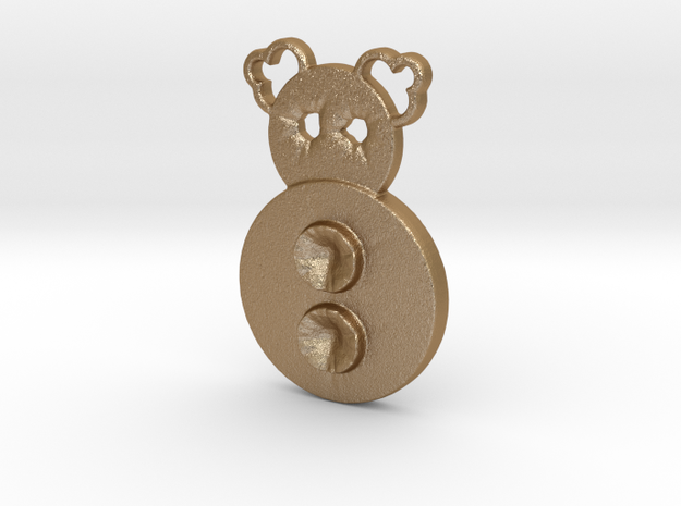 two button clown in Matte Gold Steel
